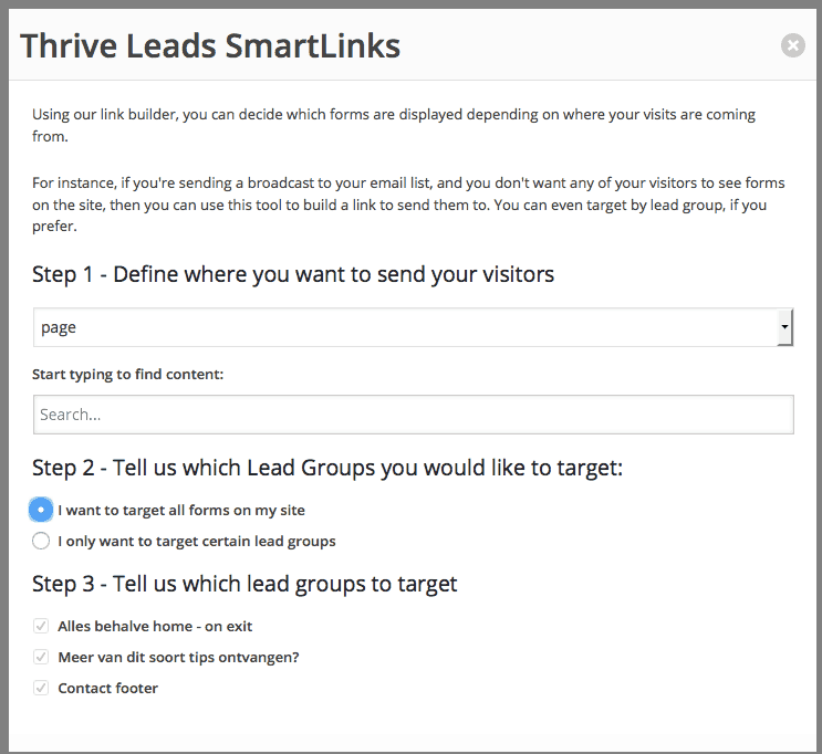 Thrive Leads Smartlinks